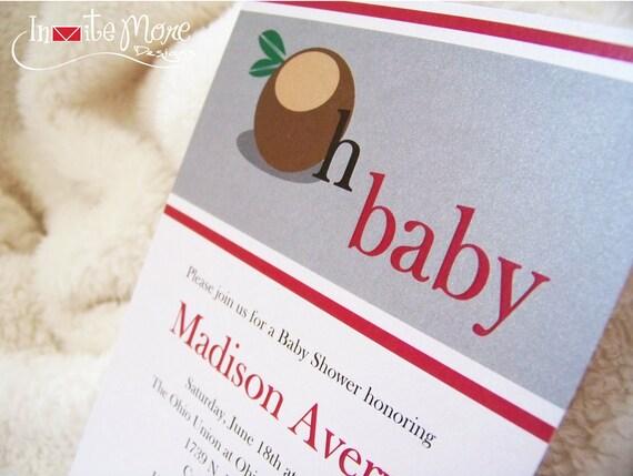 Ohio State Buckeye Baby Shower Invitations
