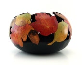 Decorated Gourd Bowl, Fall Leaves, Acorns, Color