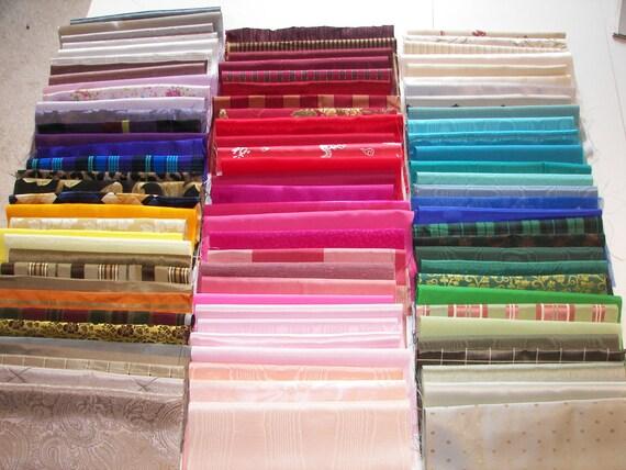 Crazy quilt fabric assortment - 90 10x10 inch squares of silk, brocade, moire, taffeta