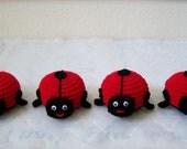 Crochet Ladybugs. Crochet Ladybug Toy Set Of 4