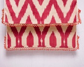 crochet ikat scarf with bead-lace ends - Turkish OYA - 15.35'' x 78.74'' - FAST worldwide shipment with UPS - 152