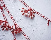 """Crochet necklace - turkish lace - needle lace - oya necklace - 132.28"""" - FAST worldwide shipment with UPS - fatma-014"""
