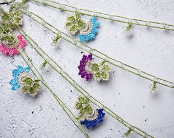 "Crochet necklace - turkish lace - needle lace - oya necklace - 125.98"" - FAST worldwide shipment with UPS - fatma-001"