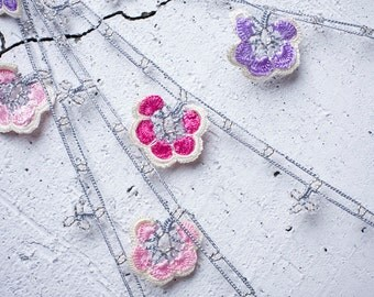"""Crochet necklace - turkish lace - needle lace - oya necklace - 130.71"""" - FAST worldwide shipment with UPS - fatma-018"""
