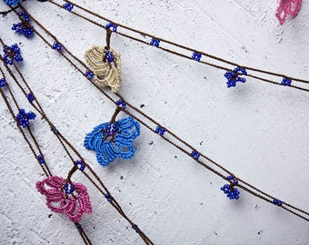 "Crochet necklace - turkish lace - needle lace - oya necklace - 155.51"" - FAST worldwide shipment with UPS - halime-002"