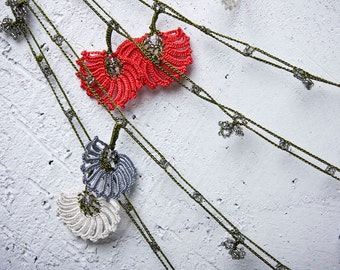"Crochet necklace - turkish lace - needle lace - oya necklace - 163.78"" - FAST worldwide shipment with UPS - halime-011"