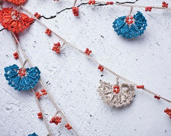 "Crochet necklace - turkish lace - needle lace - oya necklace - 133.86"" - FAST worldwide shipment with UPS - leman-005"