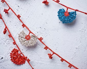 "Crochet necklace - turkish lace - needle lace - oya necklace - 124.02"" - FAST worldwide shipment with UPS - leman-007"