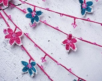 """Crochet necklace - turkish lace - needle lace - oya necklace - 135.43"""" - FAST worldwide shipment with UPS - leman-010"""