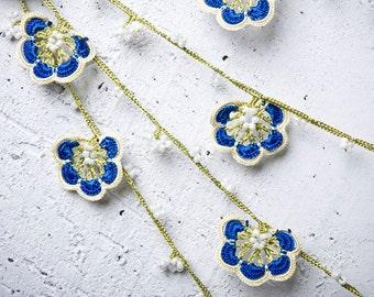 "turkish lace - needle lace - crochet - oya necklace - 133.86"" - FAST worldwide shipment with UPS - mekiye-005"