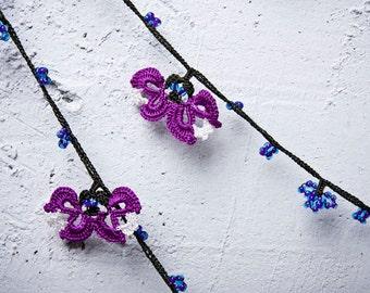 "Crochet neckalce - turkish lace - needle lace - oya necklace - 141.73"" - FAST worldwide shipment with UPS - mekiye-008"