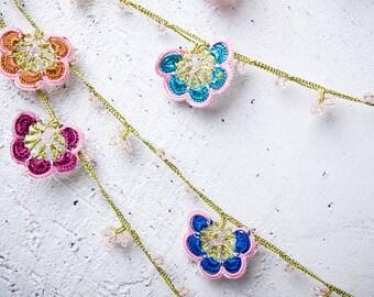 "Crochet necklace - turkish lace - needle lace - oya necklace - 133.46"" - FAST worldwide shipment with UPS - mekiye-013"