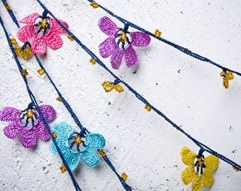 "Crochet necklace - turkish lace - needle lace - oya necklace - 141.73"" - FAST worldwide shipment with UPS - mekiye-015"