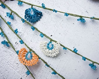 "Crochet necklace - turkish lace - needle lace - oya necklace - 149.61"" - FAST worldwide shipment with UPS - saime-009"