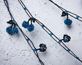"Crochet necklace - turkish lace - needle lace - oya necklace - 145.67"" - FAST worldwide shipment with UPS - saime-015"