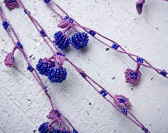 "Crochet necklace - turkish lace - needle lace - oya necklace - 151.57"" - FAST worldwide shipment with UPS - saime-016"