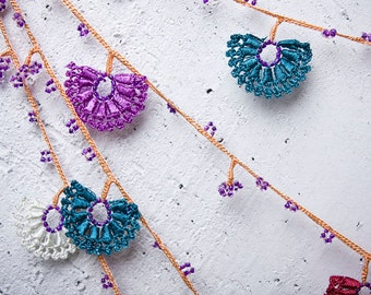 "Crochet necklace - turkish lace - needle lace - oya necklace - 122.44"" - FAST worldwide shipment with UPS - saime-024"