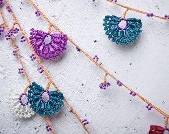 "Crochet necklace - turkish lace - needle lace - oya necklace - 122.44"" - FAST worldwide shipment with UPS - saime-024"