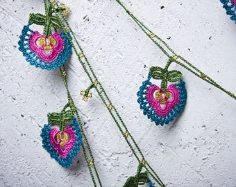 "Crochet neckalce - turkish lace - needle lace - oya necklace - 145.67"" - FAST worldwide shipment with UPS - bahar-015"