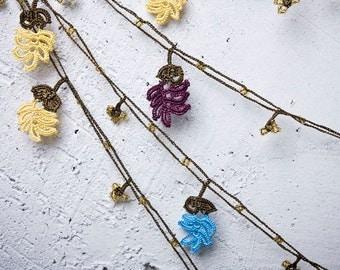 "Crochet neckalce - turkish lace - needle lace - oya necklace - 135.83"" - FAST worldwide shipment with UPS - bahar-011"