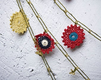 """Crochet necklace - turkish lace - needle lace - oya necklace - 136.22"""" - FAST worldwide shipment with UPS - bahar-013"""