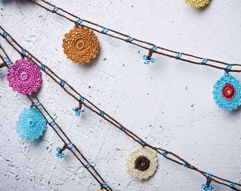 """Crochet necklace - turkish lace - needle lace - oya necklace - 140.55"""" - FAST worldwide shipment with UPS - bahar-007"""