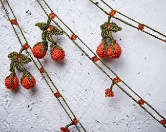 "turkish lace - needle lace - crochet - oya necklace - 149.21"" - FAST worldwide shipment with UPS - bahar-012"