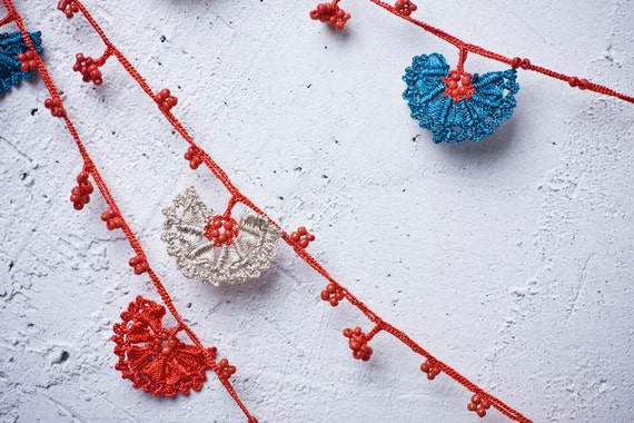 """Crochet necklace - turkish lace - needle lace - oya necklace - 124.02"""" - FAST worldwide shipment with UPS - leman-007"""