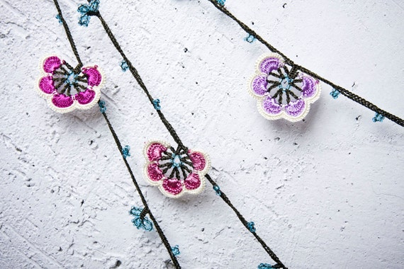 "turkish lace - needle lace - crochet - oya necklace - 137.80"" - FAST worldwide shipment with UPS - mekiye-014"