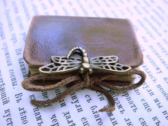 Mini Leather Book for Dollhause - DRAGONFLY - Vintage Style ChikUna Art - Old Leather - Bronze Decor - 3x4 cm