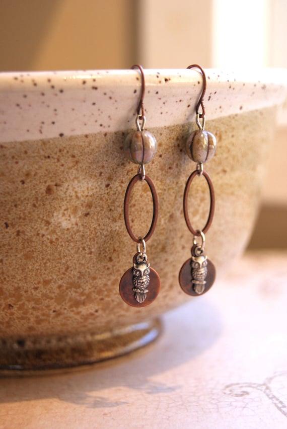 Silver Owl Earrings Owl Jewelry Copper Oval Earrings Owl Dangle Earrings Mixed Metal Earrings Woodland Earth Tones Earthy Silver Owl Jewelry