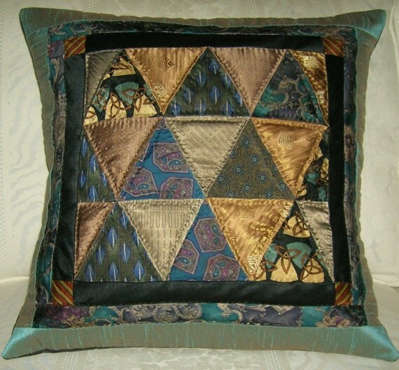 Delectable Mountains Neckties Quilted Pillow