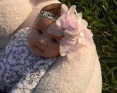 Get 10% OFF ENTIRE PURCHASE The New Pale Pink Victorian Chiffon Pearl and Glamour Demask Headband