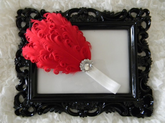 Get 10% OFF ENTIRE PURCHASE - Chic Red Feather Headband with Clear Rhinestone and White Elastic Headband
