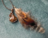 Wire Wrapped Tiger Eye Necklace- Feather Pendant- Brown, Gold, Burgundy Necklace- Wrapped with Brass Wire on 24 inch Chain