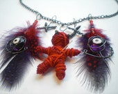 Red Voodoo Doll Necklace- Goth String Doll Evil Eye Necklace- Red and Purple Feathers, Black Wire, 16 inch Chain