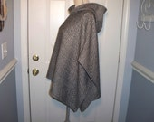 Poncho, hooded in Black/White Herringbone, handmade, one of a kind, wool blend, classic style for many occasions.