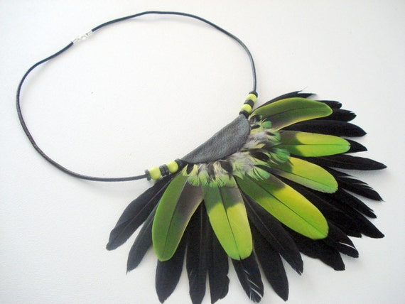 Amazon Macaw Feather Breastpiece Necklace by Teepee Tribe Womens Mens Jewellery Accessories