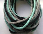 Unisex knitted Roap scarf in black, grey and light blue