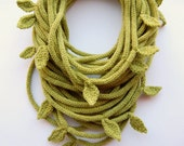 Knitted Tube scarf in olive green