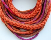 Knitted  Tube scarf, necklace in orange, purple, brown and red