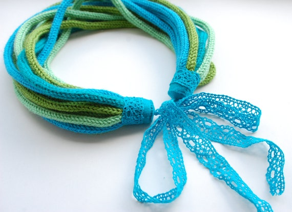Knitted Necklace - Turquoise and green mix, spring
