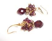 Christmas earrings. clusters of rich garnet berries by Australian jewelry designer