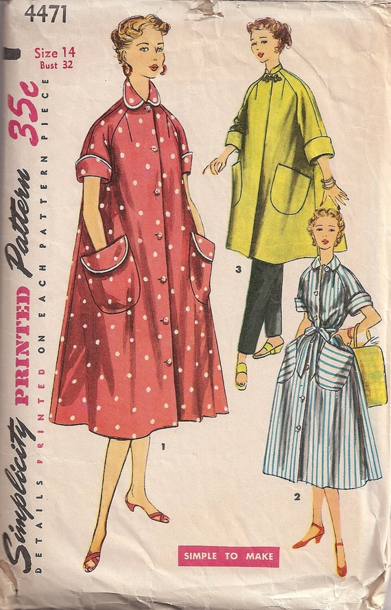 Vintage Simplicity 4471 Misses' and Women's Robe in 2 Lengths Sewing Pattern c.1953