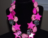 Hot Pink Stars Two Strand Cowgirl Necklace--Pink Stars Over Texas--GB228