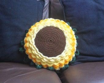 Crochet Sunflower Cushion