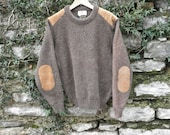 Brown Wool Sweater Suede Elbow and Shoulder Pads Mens 40