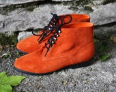 SALE Bright Orange Suede Ankle Boots Womens 6.5 W