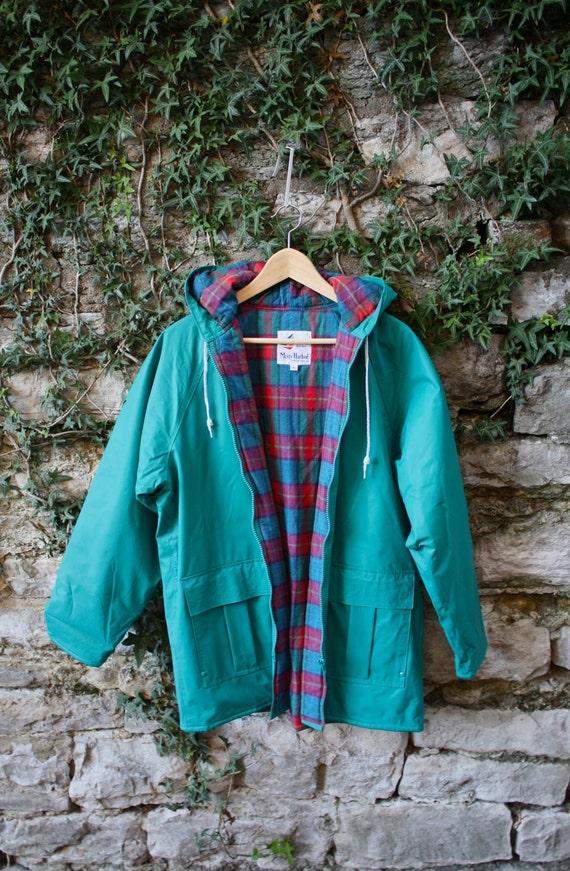 Teal Misty Harbor Raincoat Rainjacket Women S Medium