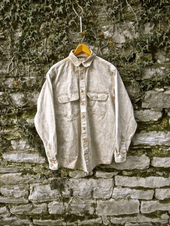 80s Acid Wash Tan Duck Canvas Work Shirt  - Carhartt - Mens Large